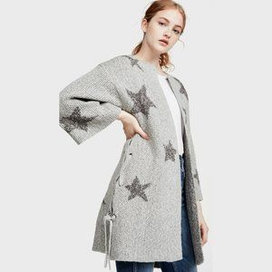 NWT Cupcakes & Cashmere grey open star sweater, M